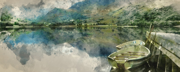 Garden Poster Khaki Digital watercolor painting of Panorama landscape rowing boats on lake with jetty against mountain background