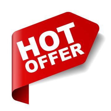 red vector banner hot offer