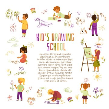 Advertising drawing school flyer with kids drawing flat vector illustration.