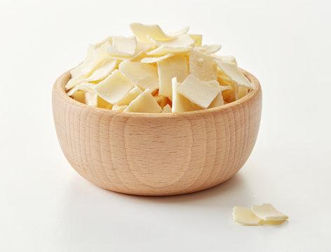 Parmesan flakes in a bowl