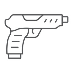 Pistol thin line icon, army and military, gun sign, vector graphics, a linear pattern on a white background.