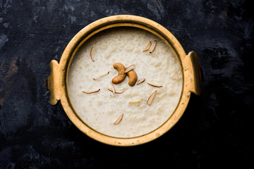 Rice Kheer or Firni or Khir is a pudding from Indian subcontinent, made by boiling milk ,sugar and Rice. Served in a bowl