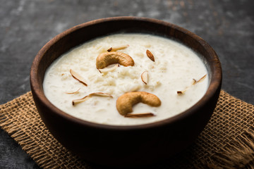 Rice Kheer or Firni or Chawal ki Khir is a pudding from Indian subcontinent, made by boiling milk ,sugar and Rice. Served in a bowl