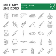 Military thin line icon set, war and army symbols collection, vector sketches, logo illustrations, weapon signs linear pictograms package isolated on white background.