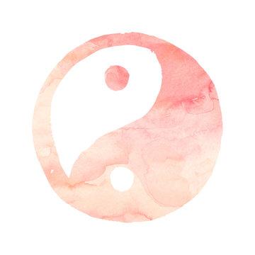 Yin Yang sign with blush pink watercolor texture Meditation Yoga symbol