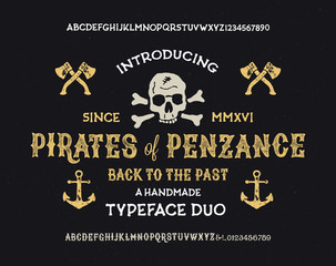 Retro Styled Fonts. Vintage Hand Drawn Typeface. Vector Illustration