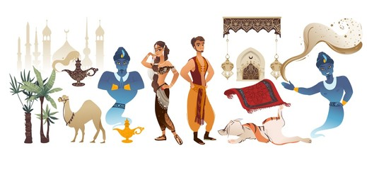 Aladdin tale vector cartoon illustration