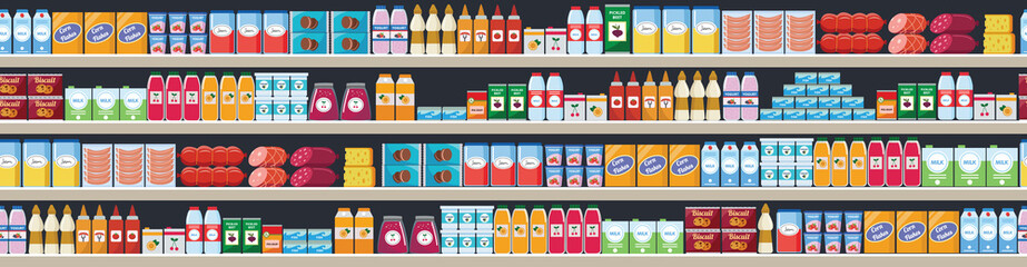 Grocery items on the store shelves vector flat seamless background illustration.