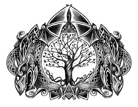 Illustration with tree and dragons. The tree of life in a circle. Fantasy stile. Good tattoo template or t-shirt print.