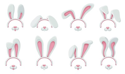 Cute bunny ears and nose filter set for funny social media photo app