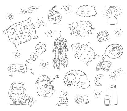 Go to bed sleep set of sketch black line doodle icons vector illustration isolated.