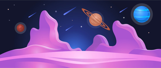 Cosmic planet landscape or surface background flat vector illustration.