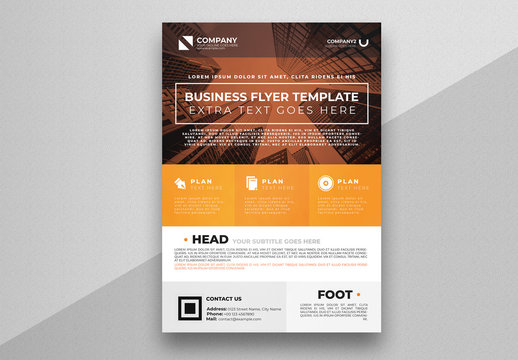 Corporate Flyer Layout with Orange Accents