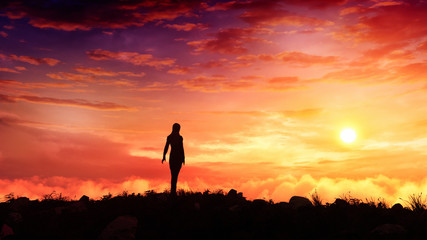 surreal fantasy woman figure standing on top of a hill watching majestic sunset