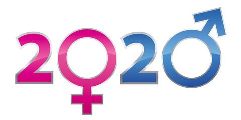 Concept de carte de voeux traitant de la relation entre les hommes et les femmes en utilisant les symboles masculin et féminin pour remplacer les zéros de l'année 2020