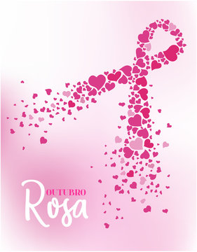 Pink October in Portuguese language. Breast cancer awareness month vector. Vertical backdrop.