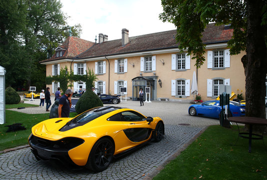 A F McLaren P1 Coupe is pictured during an auction preview of Bonhams at the Bonmont Golf & Country Club in Cheserex near Geneva