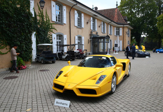 A Ferrari Enzo is pictured during an auction preview of Bonhams at the Bonmont Golf & Country Club in Cheserex near Geneva