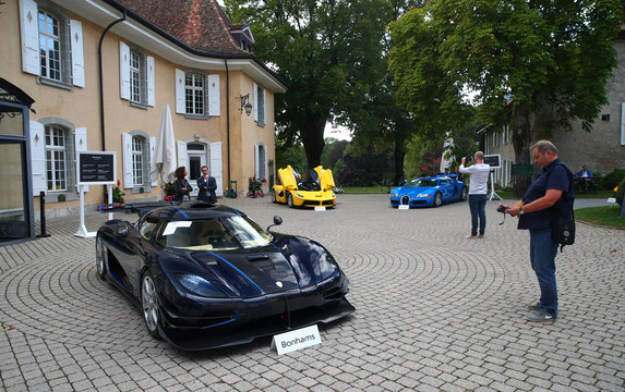 Model cars are pictured during an auction preview of Bonhams at the Bonmont Golf & Country Club in Cheserex near Geneva
