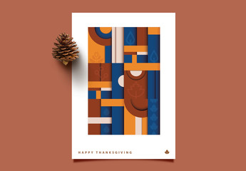 Contemporary Geometric Thanksgiving Greeting Card Layout