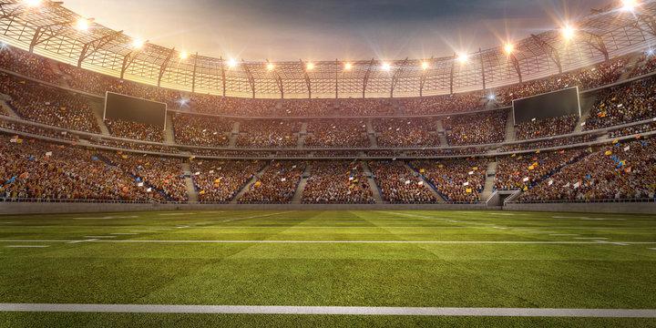 A profesional american football arena. Stadium and crowd are made in 3d.