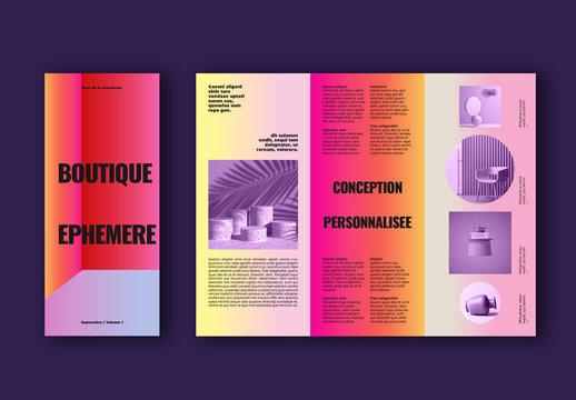 Mise en page d'une brochure de boutique colorée