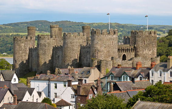 A View of Conwy Castle Rising Above the Rooftops of Conwy, Wales, GB, UK