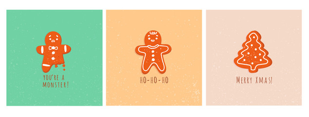 Cute gingerbread man cookies and christmas tree. Bitten leg. Merry x-mas. Funny vector greeting cards. Christmas winter mood. Set of three hand drawn trendy illustrations. Cartoon style. Flat design