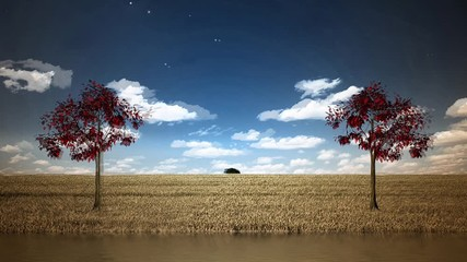 Fototapete - Lake and red trees. Rural landscape