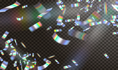 Holographic ribbon confetti falling. Vector stock. EPS 10.