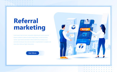 Referral marketing flat web page design template of homepage or header images decorated people for website and mobile website development. Flat landing page template. Vector illustration.