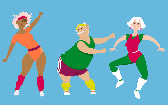 Group of active seniors doing an aerobic workout, EPS 8 vector illustration