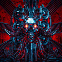 Heavy metal dreams / 3D illustration of science fiction scary robotic skull artificial intelligence hardwired to computer core