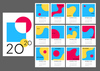 2020 Desk Calendar with monthly pages and abstract images. Vertical calendar with retro style picture frames.