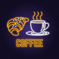 Neon coffee and croissant retro sign on brick wall background. Design for cafe, restaurant. Vector. Neon design for pub or fast food business. Light sign banner. Glass tube.
