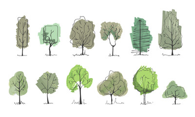 Drawing trees for landscape design. Vector illustration, hand drawn. Set of tree sketches isolated on white.