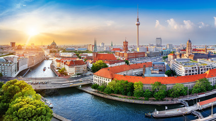 Wall Murals Berlin panoramic view at central berlin while sunset