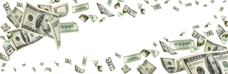 Hundred dollar bill. Falling money isolated background. American