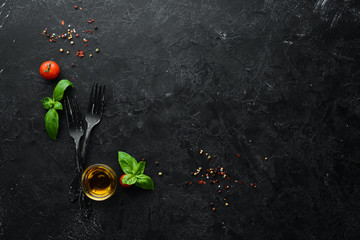 Food banner. Vegetables, spices and herbs. Flat lay. Top view. Free copy space.