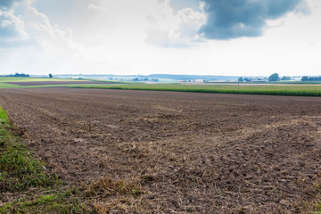 Fertile fields and green and brown soil