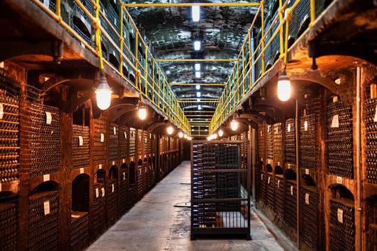 Large modern wine storage, many bottles and boxes of wine.