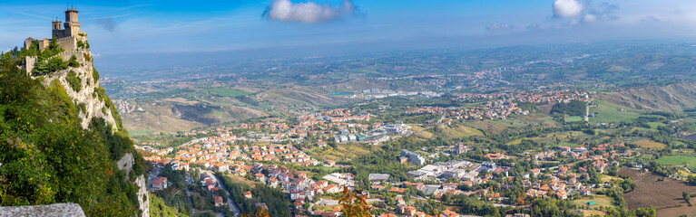 San Marino. Panorama of old stone towers on the top of the mountain. Wall mural