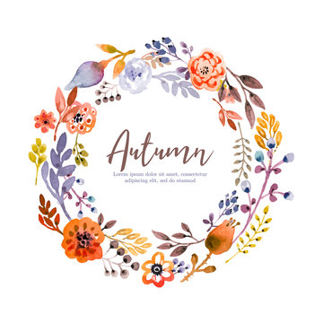 Autumn festive wreath in watercolor style