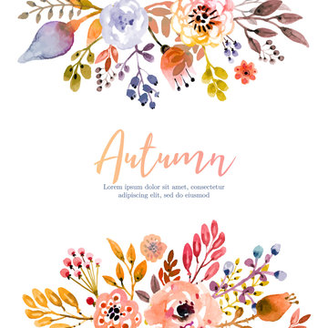 Autumn gloral background in watercolor style