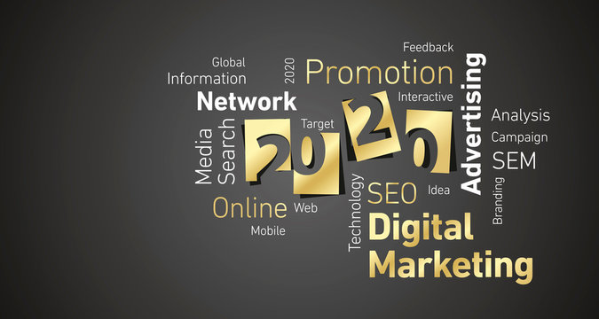 Digital Marketing New Year 2020 gold white word cloud black board background