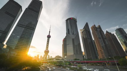 Fotomurales - time lapse of sunset, Shanghai Lujiazui financial center, China