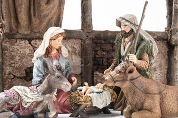 Holy Family: Virgin Mary, Saint Joseph, the Ox, the donkey and Baby Jesus Ceramic Figurines