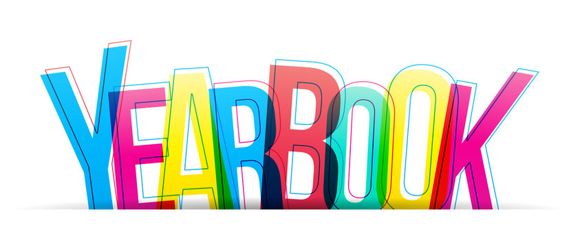 Yearbook colorful sign on a white background. Vector letters illustration.