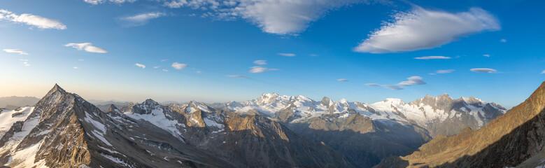 XXL wide angle Swiss alps panorama view Left to right: Portjenhorn & Pizzo D'Andolla, Sonnighorn, Stellihorn, Monte Rosa, Strahlhorn, Rimpfischhorn, Allalinhorn, Alphubel, Taeschhorn, Dom, Nadelhorn.