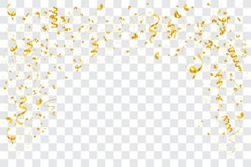 Falling shiny golden confetti isolated on transparent background. Bright festive tinsel of gold color. vector illustration EPS10
